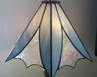 "8"" x 14""  Blue Stained Glass Lamp Shade"