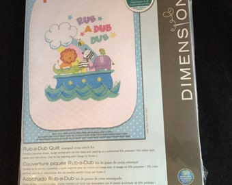DIY   Dimensions Stamped Cross Stitch Kit - Rub-A-Dub Quilt