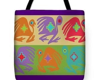 Peruvian Birds Tote Bag Gift - Inca Tribal Decor Throw Pillow Gift - Tribal Birds Contemporary Pillow - South American Folk Art Birds Gift
