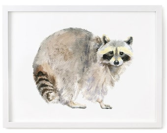 Raccoon Print of Watercolor Painting, Animal Giclee Print