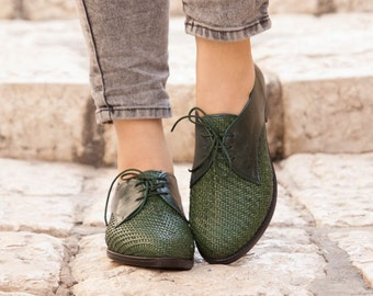 Green Leather Shoes, Woven Oxford Shoes, Close Shoes, Flat Shoes, Green Shoes , Free Shipping
