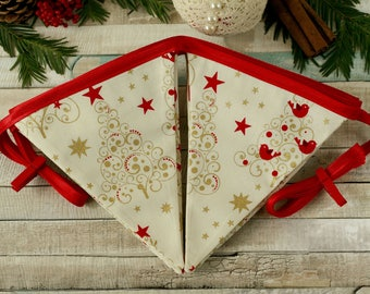 Christmas decorations, holiday banner, fabric bunting, Christmas home decor, fabric garland, yule home decor, Christmas party decorations