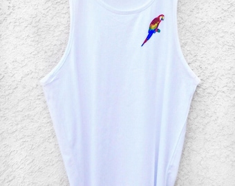 Parrot Tank Top, Women's Tank Top, White Tank Top, Embroidered Tank Top, Patch , Summer Patch Top, Bathing Suit cover