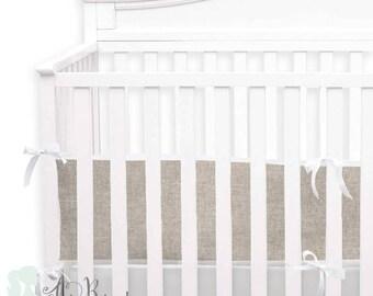 Tan & White Linen 2-in-1 Crib Bumper/Rail Cover | Convertible Gender Neutral Baby Bumper Set | Tan Crib Bumper Set