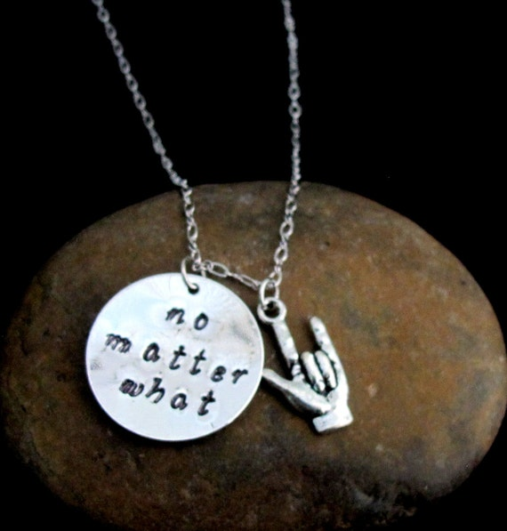 No matter what necklace, ASL Necklace,Valentine Gift,I love you Necklce, bff necklace Long Distance Relationship -Free Shipping USA