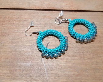 Aqua Beaded Hoop Earrings Handmade Bead Stitched Jewelry Free US Shipping