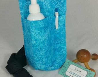 Massage Therapy single 8oz lotion bottle LEFT hip holster, turquoise dragonfly, black belt