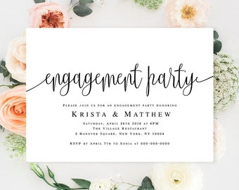 Engagement templates Engagement party invitation printable Editable template Engagement announcement card Engagement invitation printable