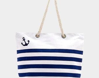 Striped Blue Anchot Canvas Beach Bag