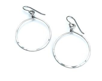 Niobium Dangle Hoop Earrings, Big Niobium Hoops, Hypoallergenic Hammered Circles Niobium or Titanium Earwires Sensitive Ears Earrings