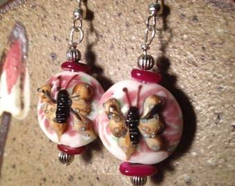 Butterfly lampwork bead earrings with pink mother of pearl beads, bohemian earrings,