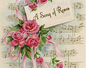 Large digital download A song of Roses pink roses 5x7 vintage sheet music greeting card