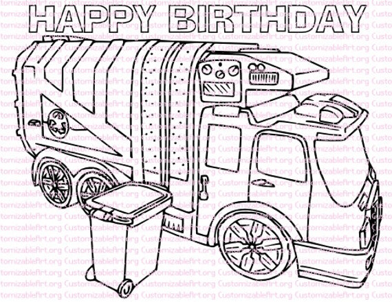 trash truck coloring pages - photo#15