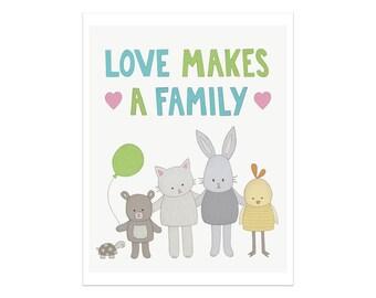 Cadeau d'adoption, impression d'Art chambre d'enfant, l'amour rend une famille, Art pour chambre d'enfant, la famille Art, Animal crèche de l'Art, Adoption Art, impression de la chambre de bébé