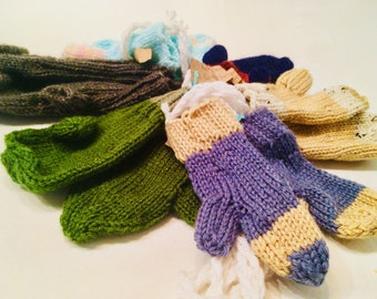 Estate Yarn Baby Mittens on a String! Don't let them lose their mitts! Antique yarn gifted as something useful! Great for new babies!