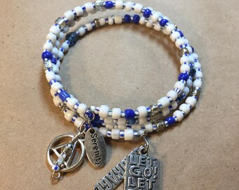 Blue and White AA charm bracelet, alcoholics anonymous, sponsor gift, serenity courage, let go let god, sobriety bracelet, recovery jewelry