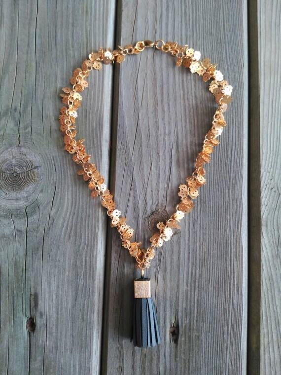 Skull Necklace, Golden Necklace, Tassel Necklace