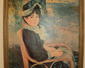 "Large Vintage Renoir Portrait  titled ""By The Seashore"" in gilded wooden frame in Vintage Condition, A Canvas Print in Vintage Condition"