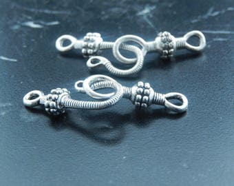 Clasps style Tibetan antique silver metal hook