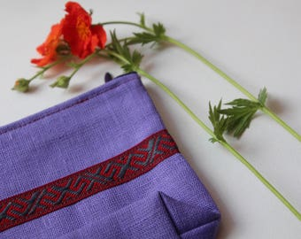 Purple Linen Cosmetic Bag decorated with Latvian Garter - Cosmetic Storage - Lipstick Bag