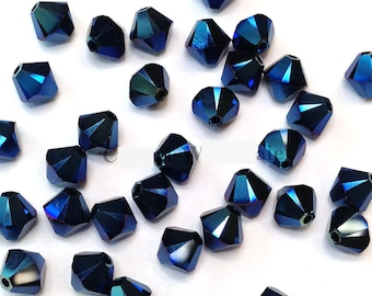 Crystal Metallic Blue AB2X - 5301/5328 Swarovski Crystal Bicone Bead - 3mm, 4mm, 5mm, 6mm