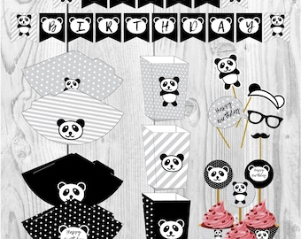 Panda happy birthday party set, bamboo party, party paper decoration, Birthday Party Package, printables, printing party decor, animals
