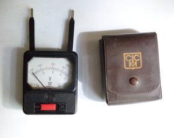 vintage current meter  -  object for current measuring device - current measurement - voltmeter is made of bakelite