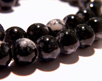 100 beads - 8 mm - fashion reality - black marbled - glass - G62 beads