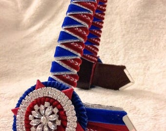 BESPOKE Double Sharkstooth Lurex Velvet Showing Browband - Bespoke Colours + Silver