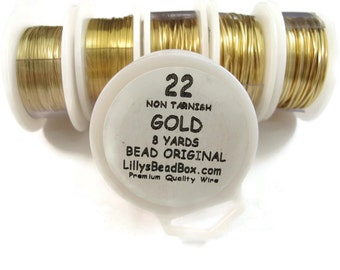 Gold Plated Wire - 22 Gauge Round Wire for Making Jewlery, Non Tarnish Wire, Wire Wrapping Supplies
