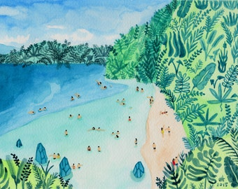 """Art Print of watercolor painting """"Paradise"""" by Helo Birdie - Beach - tropical - travel - nature - summer - landscape"""