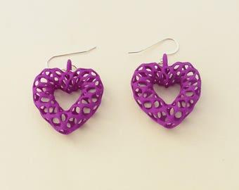 Mesh Hearts -- Purple 3D Printed Earrings | 3D Printed Earrings | 3D Printed Jewelry | Heart Shaped Earrings
