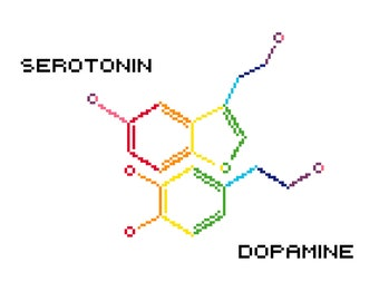 Dopamine and Serotonin molecules - PDF cross stitch pattern - 2 variations