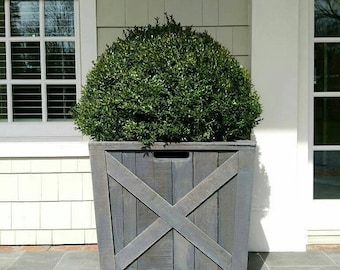 Weathered Gray Wooden Planter