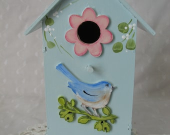 Birdhouse Hand Painted Roses, Bluebird Cottage Chic Home Decor