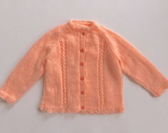 Hand knitted children's cardigan sweater, peach sweater, child cardigan, hand knit, kids cardigan, girls cardigan, kids knit sweater