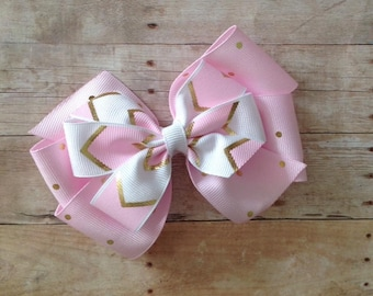 Pink, White & Gold Double Bow by Cheryl's Bowtique, boutique, polka dot, chevron, layered, clothing, back to school