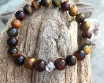 African Tiger's Eye and Clear Quartz