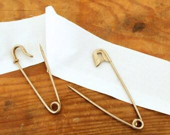 2 Large Vintage Pins Laundry Locker Tag Pin and Horse Blanket Pin