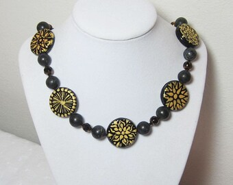 Black Necklace, Black & Gold, Opaque Glass, Hand Painted, Statement Necklace, OOAK