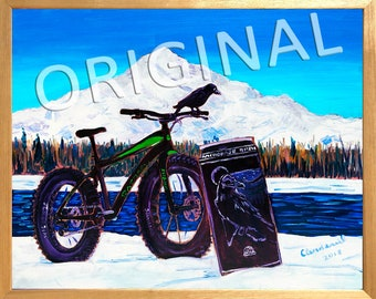 Alaska Mountains Painting, Corvus Fat Bike, Black Crow Art, Raven Alaska Bird Art, Bicycles & Beer Gift, Denali Art, Fat Biking Gift for Him