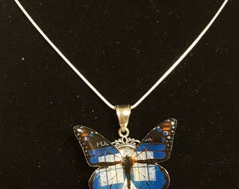 Dr. Who Tardis police box beautiful monarch resin OOAK butterfly pendant with sterling silver chain