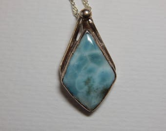 Beautiful Vintage Larimar 925 Sterling Silver Pendant Necklace - 925 Silver Free FLarimar Gemstone Pendant - Large Genuine Larimar Necklace