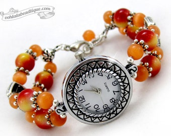 Orange bracelet watch, orange wrist watch, cats eye jewelry, ladies watch, women watch, orange beaded watch, adjustable watch, orange watch