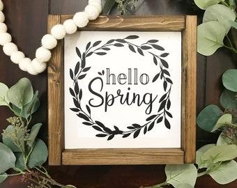 Hello Spring / Spring Decor / Hello Sign / Spring framed Sign / Spring Wreath Sign / Wreath Sign