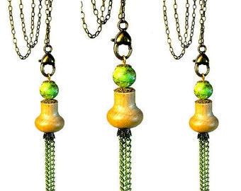 Boho Jewelry, Long Tassel Necklace Pendant, Long Necklaces,  Repurposed Jewelry, Upcycling,  Lime Green