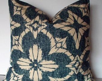 Blue Ikat Pillow Cover, Blue Pillow, Throw Pillow, Accent Pillow, Chambray Pillow Cover