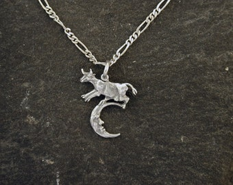 Sterling Silver Tiny Milk Cow Jumping over the Moon Pendant on Sterling Silver Chain.