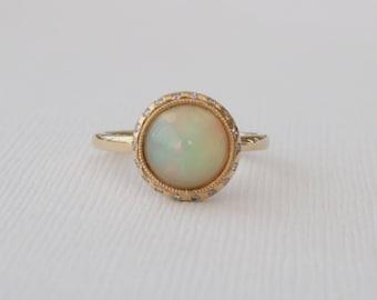 Opal Diamond Bezel Ring in 14K Yellow Gold