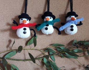 Christmas decoration, snowman, amigurumi crochet handmade 7 cm. Frosty Christmas gift.